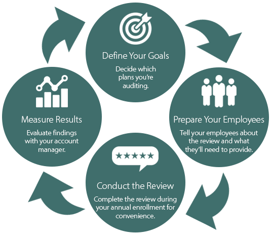 DVR Process Infographic - Define Your Goals, Prepare Your Employees, Conduct the Review, Measure Results