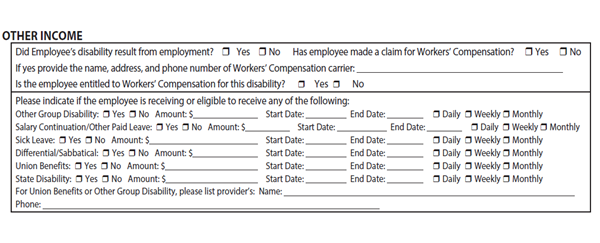 Other income section on disability form